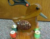 Reserve for DIANE  Duck sewing caddy made of wood holds scissors, pins, thread and a drawer for other stuff