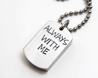 Cremation Urn Necklace - Remembrance Necklace - Hand Stamped Necklace - Cremation Jewelry - Dog Tag Necklace - Personalized Jewelry