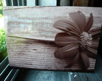 Quote- Mexican Sunflower Wood Block Print 5x7 - Custom Print or Made to order -Professionally  Printed