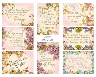 Vintage Collage, instant download, Vintage birthday images, roses lilacs forget-me-nots, ivy--Digital Collage Sheet (8.5 by 11 inches) 2380