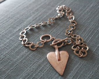 Modern stylish silver metal heart chain choker