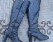on hold REVELATIONS vintage 70s sassy knee high black leather boots 7.5M to 8M