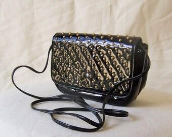 SUSAN GAIL vintage patent leather gold studded evening bag purse