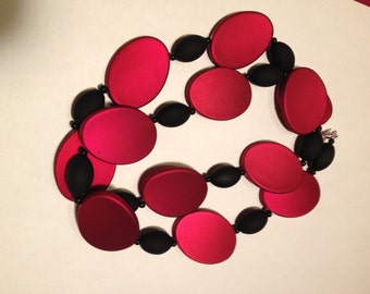 Tilted: Handmade Necklace Featuring Red Acrylic Beads
