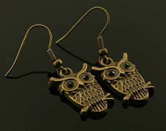 Antique bronze metal owl earrings