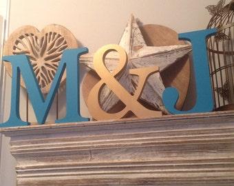 Set of 3 - Handpainted Wooden Freestanding Wedding Letters, Photo Props -25cm