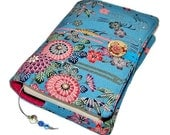 Fabric Book Cover, Handmade Bible Sleeve, Kimono Silk, Bingata Cherry Blossom on Blue, British Seller