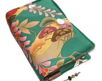 Large Bible Cover, Silk Kimono Fabric, Suitable for Hardback or Softback, Golden Pine Trees & Wisteria, UK Seller