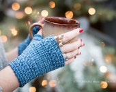 Monday Sunday Fingerless Gloves - Hand knit fingerless texting gloves: Denim Blues