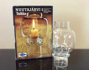 Nuutajarvi Wartsila Finland Tuikku Glass Table Lantern designed by Heikki Orvola