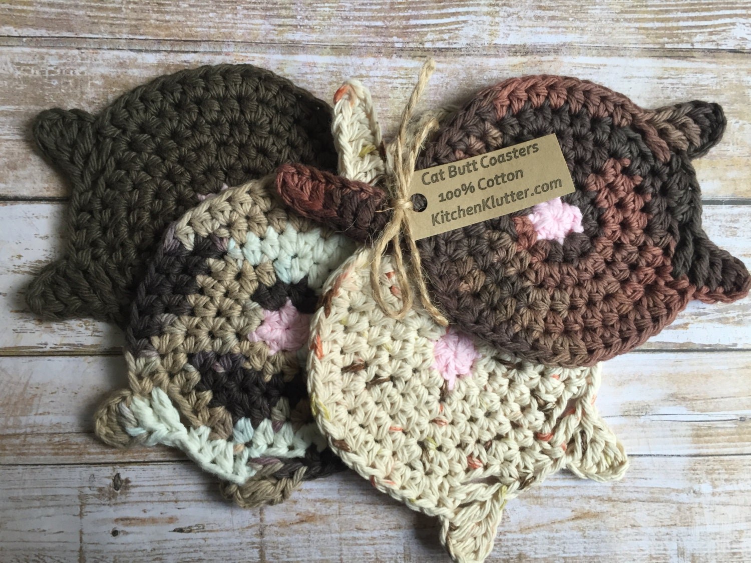 Cat Butt Coasters New Set Of 4 Cute Hand Crocheted Mixed