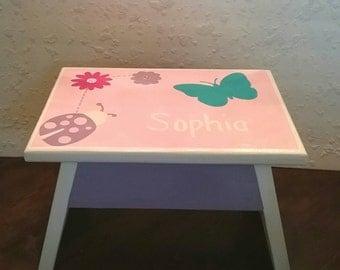 Butterfly Stool - Girls Stool - Nursery Stool - Flower Stool -  Ladybug - Bathroom Stepstool - Bedroom Stool - DREAMATHEME