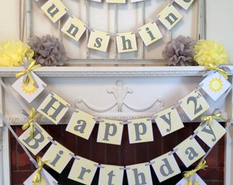 You are My sunshine Birthday Decorations - 1st BIRTHDAY banner- Gray and Yellow  Birthday Banner- Custom Childs name -Your color choice