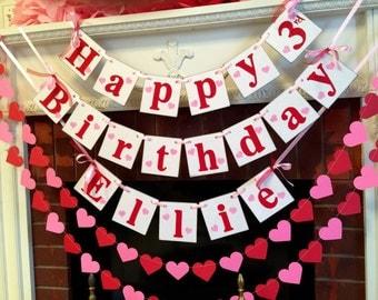Happy Birthday banner garland set, Valentine's Birthday Garland , Valentine's Birthday decorations, pink red birthday decor, Photo prop