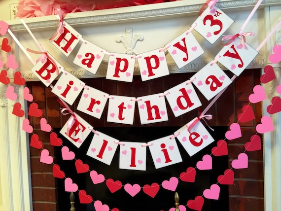 Happy Birthday banner garland set Valentines Birthday Garland
