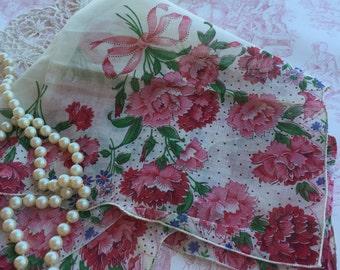 Vintage Unused Pink Floral Handkerchief with Carnations 1410