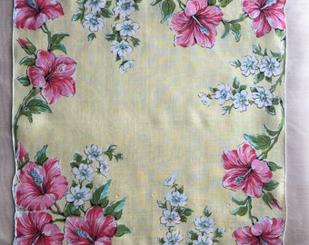 Vintage Yellow Hanky with Pink Hibiscus Flowers 1125