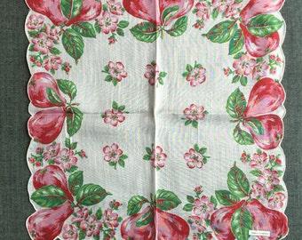 Vintage Unused Red Pears Handkerchief 1227