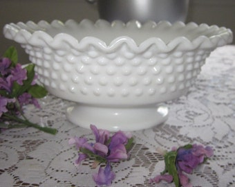 Fenton Wedding White Milk Glass hobnail low foot Round ruffled/crimped compote dessert home decor 60s Periods,Styles, collectible glassware