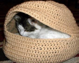 Hand Crochet Cat Cozy or Cat Bed, Cat Cave, Pet Bed in TAN