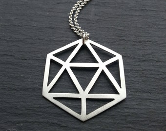 Large Platonic Solid Pendant - Icosahedron -  Handcrafted sterling silver geometry