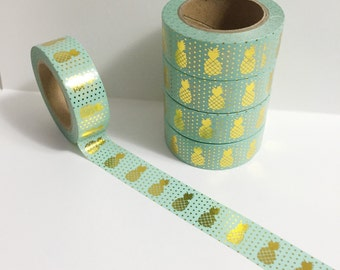 Bright Shiny Metallic Gold Foil on Bright Pastel Teal Pineapple Washi Tape 11 yards 10 meters 15mm Teal with Gold Foil Pineapples