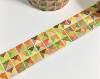 SALE Red Orange Yellow Green Purple Geometric Triangle Washi Tape 5.5 yards 5 meters 20mm