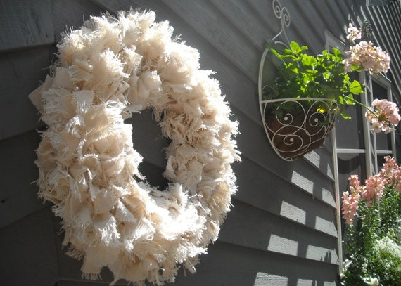 "FABRIC WREATH,  Linen Wreath, Beach Wreath, 16"" Rag Wreath, Natural Linen Wreath, Housewarming Gift, Ivory Wreath, Cottage Wreath"
