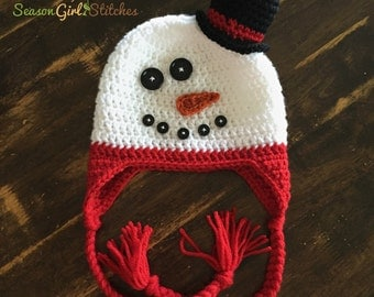 Snowman Earflap Hat with Top hat in your choice of colors