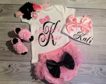 baby girl coming home outfit, clothes, baby, girl, take home outfit, baby girl, baby bloomer, going home outfit, newborn, bloomer outfit