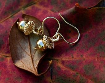 Gold Acorn Earrings Fall Accessories Autumn Oak Tree Nut Earrings Little Acorn Dangle Earrings - E119