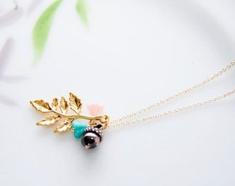 Flower Acorn Leaf Necklace Pink Turquoise Flowers Brown Acorn Gold Leaf Charm Nature Necklace - N319