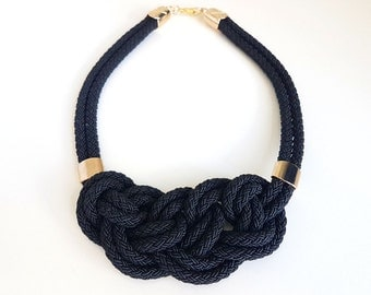 Nautical Rope Statement Necklace, Knotted Bib Necklace, Bib Necklace, Rope Necklace