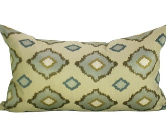 Sikar Embroidery lumbar pillow cover in Flax