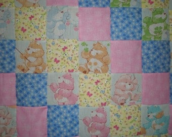 SALE Upcycled Vintage Care Bears Patchwork Quilt