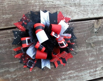 Full Christmas hair bow over the top