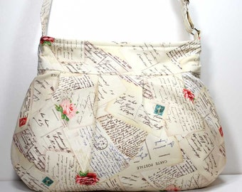 French Post Cream Pleated Shoulder Purse Hobo Shoulder Bag Cross Body Bag Crossbody Bag - Michael Miller Fabric - Made to Order