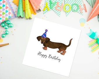 Dachshund Birthday Card, pet portrait, birthday card, greeting card, dachshund, ideal for dog lovers