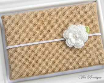 Baby Flower Headband - Baby Ivory Flower Headband - Ivory Flower Headband - Crochet Flower Headband