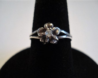 Adorable Petite Flower Ring with CZ Center Stone, Split Band, Size 5, Perfect as a Stocking Stuffer, Pinkie Ring