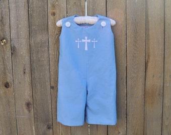 Cross Monogrammed Blue Jon Jon, White Seersucker Romper, longalls..baby boy baptism clothes, 3m,6m,9m,12m,18m,2t,3t