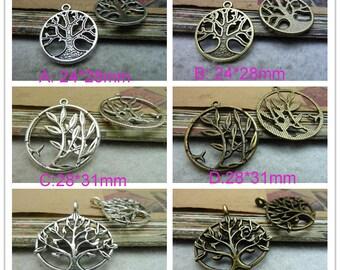 20pcs -24*28mm Antique Silver/ Ancient bronze  Filigree Round Tree tree of life  wish tree Charm Pendant