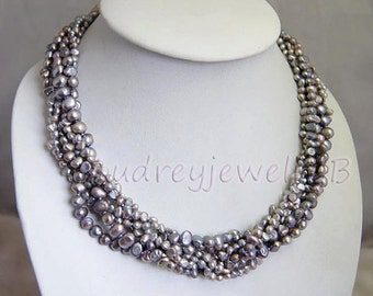 Beadwork Necklace,Statement Necklace,Beaded Jewelry,Multi Strand Pearl Necklace  With Grey Freshwater Pearl