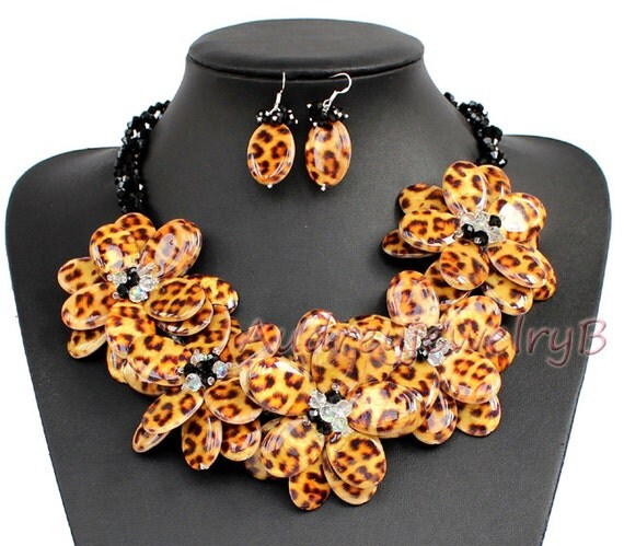 Statement Necklace Leopard shell crystal Flower Necklace with Earrings Set  Bib sister gift, friend gift, mothers gift, wedding gift