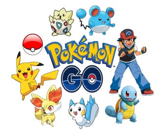 "POKEMON GO ""34 Pokémon Theme ClipArt Pages"" Pokemon Go Image, Pokemon Go Template,Pokemon Image, Pikachu Image, Pokemon Go Transfer Template"