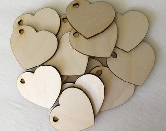 50 2.5 inch wood hearts - unfinished wooden hearts with heart shaped cutout for wedding and parties