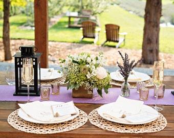 Lavender Burlap Table Runner Bridal Shower Decorations Wedding Decor Easter Settings Purple