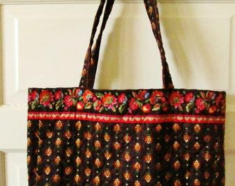 Quilted Cotton Tote Bag, Shoulder Bag