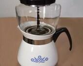 RESERVED FOR SUSANNA--CorningWare Coffee Pot Drip-O-lator® 2-Qt Ceramic Stovetop Cornflower Blue White Glassware
