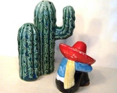 Salt Pepper Shakers Cactus Mexican Ceramic Desert Southwest Country Western